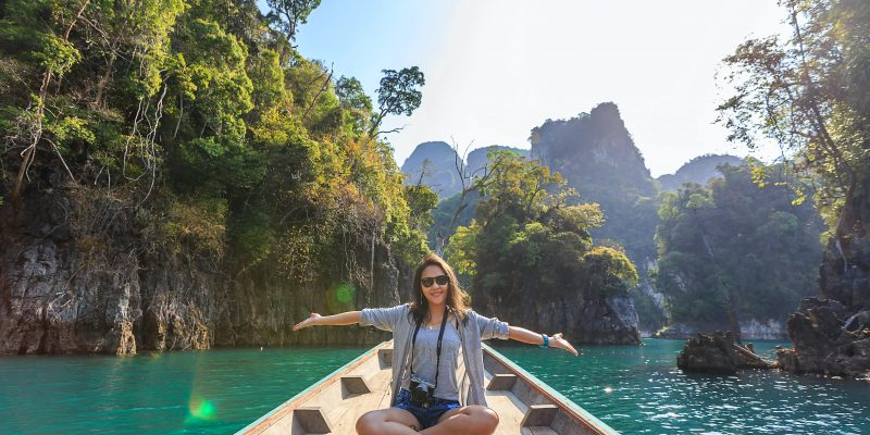 woman on a boat in thailand