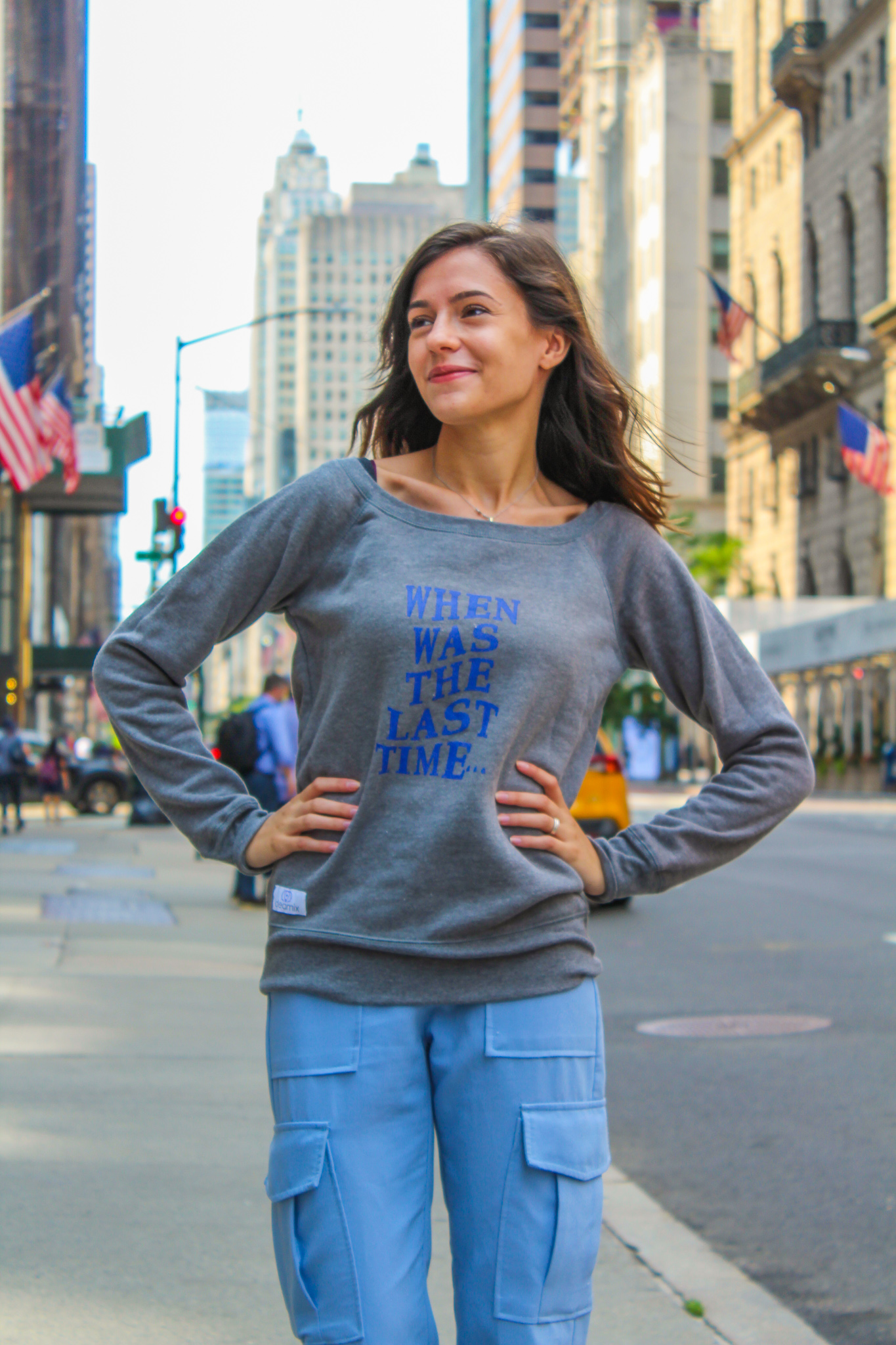 When Was the Last Time Women's Wide Neck Sweatshirt